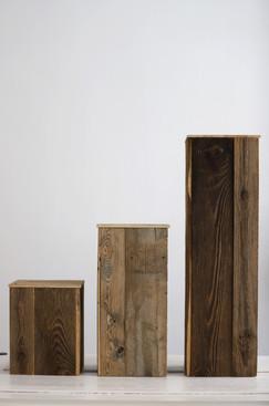3er Set Altholzsäulen in natur (ideal für die Kirche oder freie Trauungen)