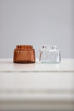 Vintage Teelichter in orange & transparent
