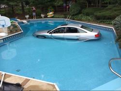 Car into pool
