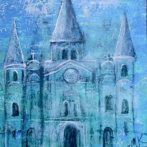 St.Louis Cathedral in Blue - Embellished Giclée