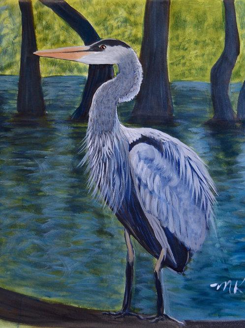 Blue Heron in the Bayou - Embellished Giclée