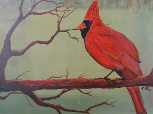 Cardinal in Green - Embellished Giclée