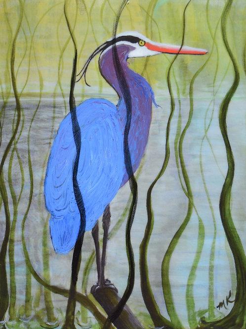 Blue Heron in Marshland - Giclée/Resin