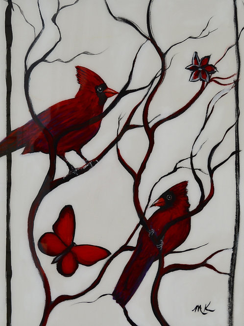 Cardinals and Red Butterfly