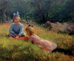 """Girls Playing on a Hillside"""