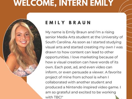 Welcome New Intern, Emily Braun