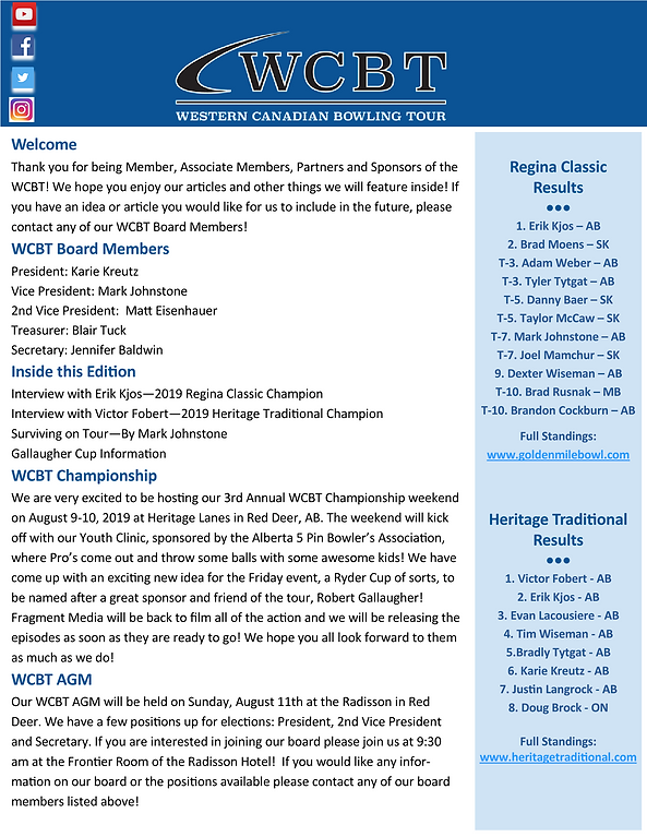 WCBT NEWSLETTER - WESTERN STRIKER - JUNE