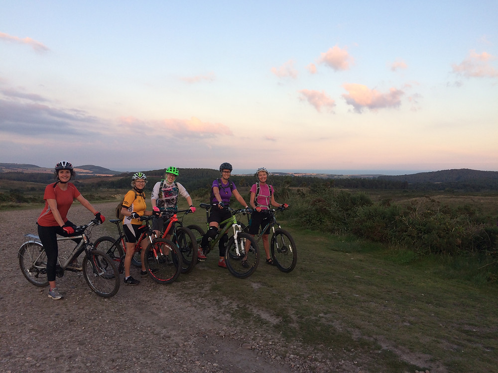 Group mountain bike ride on Woodbury Common East Devon
