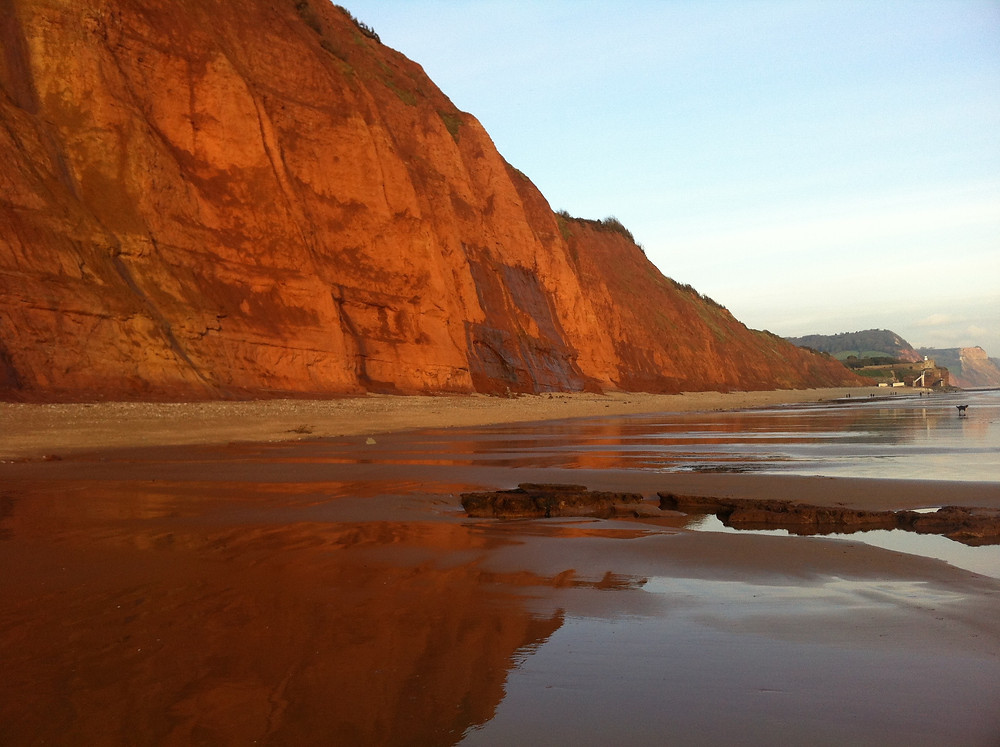 Sidmouth beach and red cliffs, Devon