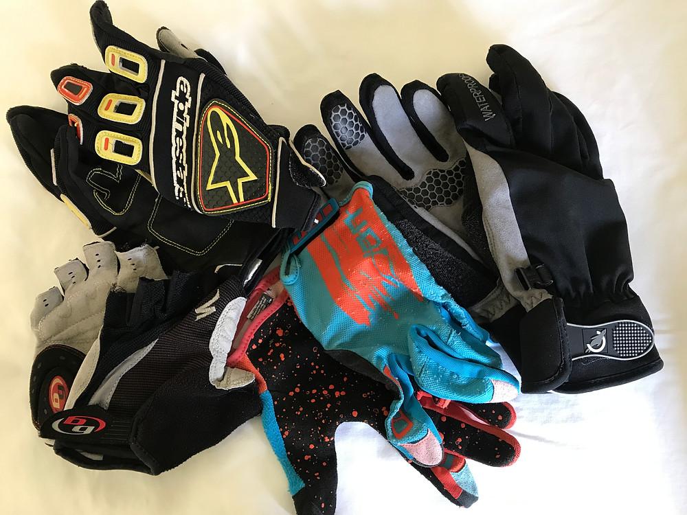A selection of mountain biking gloves