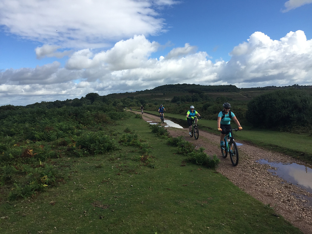 Women mountain bikers on Woodbury Common