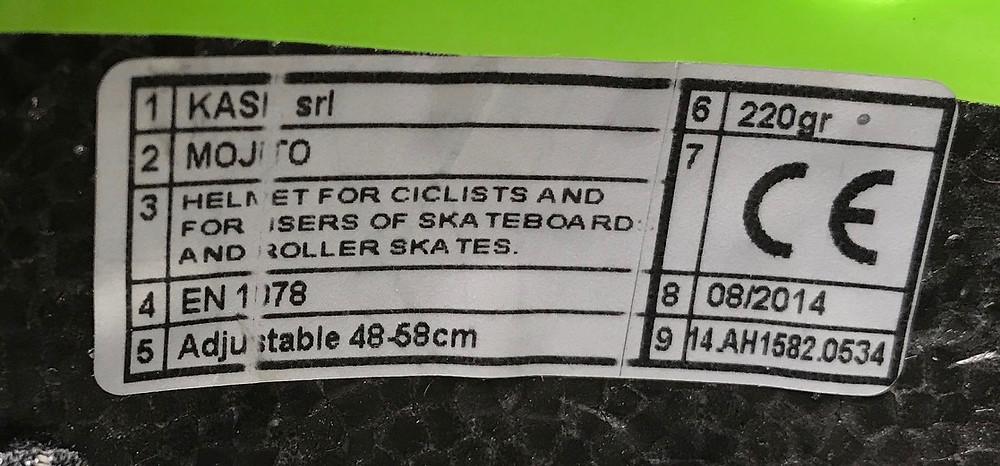 CE mark on bike helmet