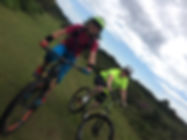 Mountain bikers on Woodbury Common, East Devon