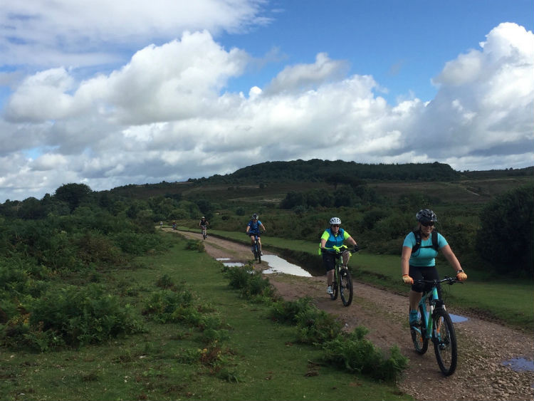 Women mountain biking on Woodbury Common, Devon