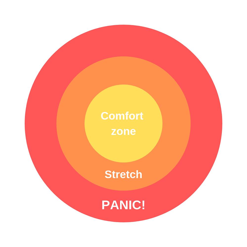 Comfort zone, stretch, panic diagram