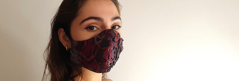 Masque rouge en jacquard imprimé piton