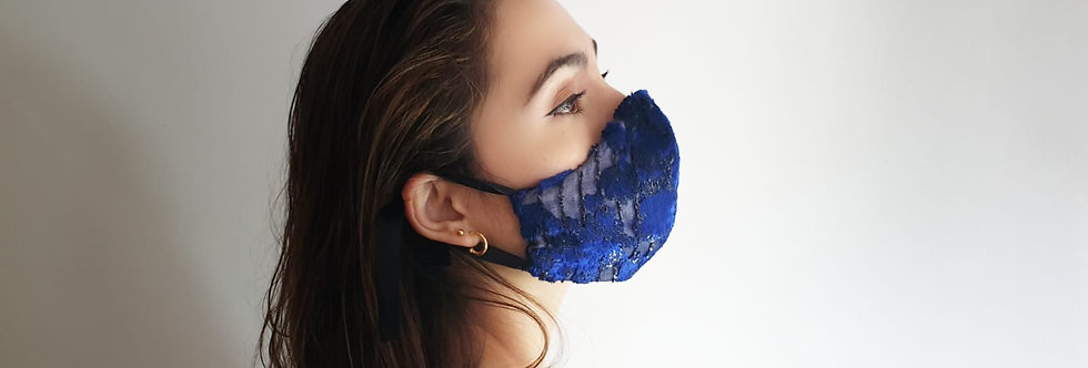 Masque bleu en soie lyonnaise