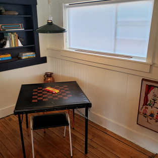 Games room with vintage books