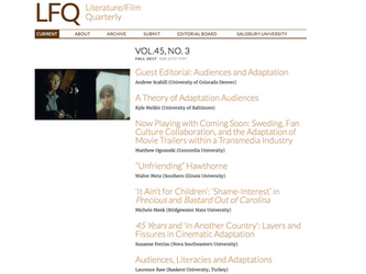 GUEST EDITOR FOR LITERATURE/FILM QUARTERLY!