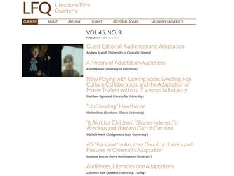 GUEST EDITOR FOR LITERATURE/FILM QUARTERLY!
