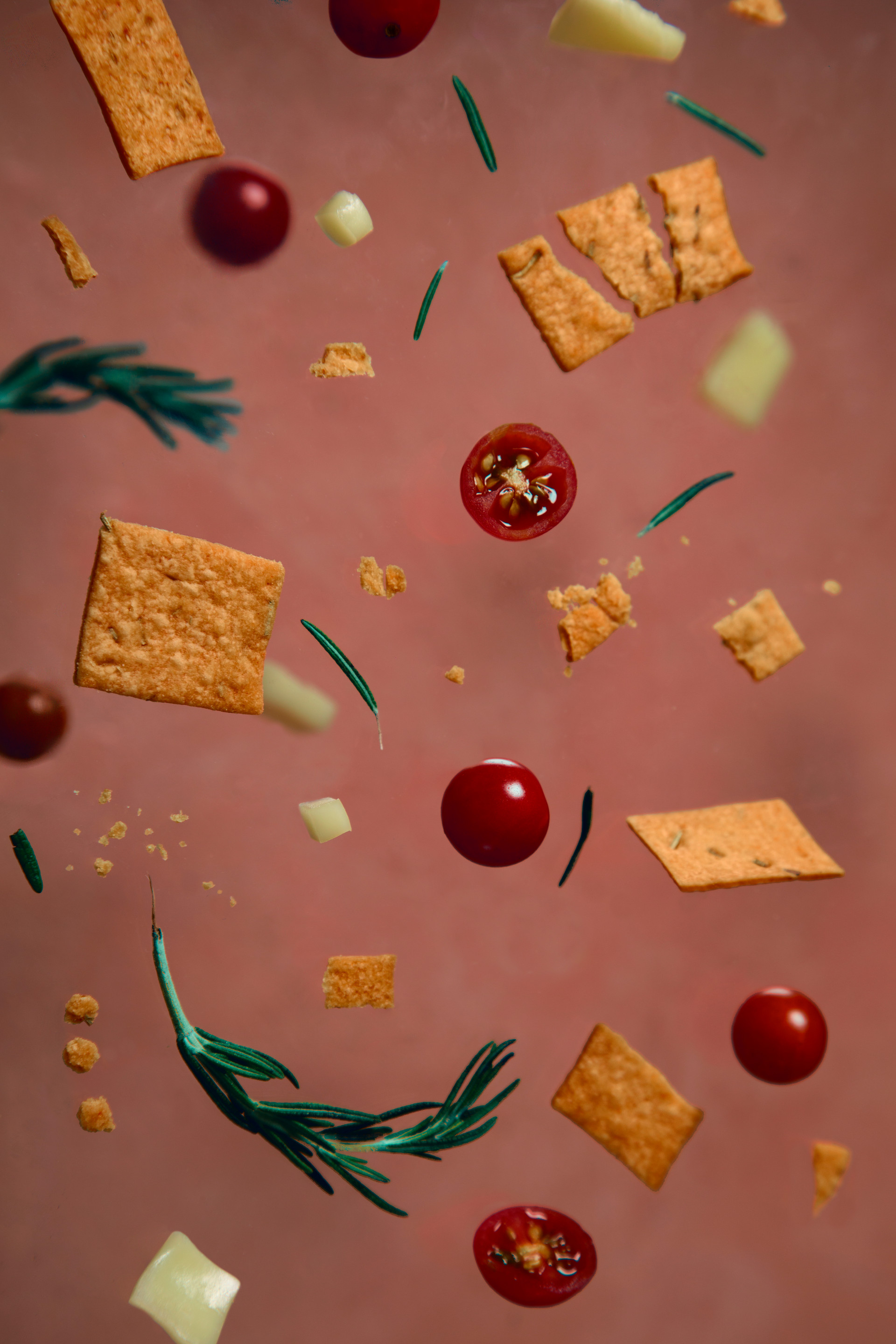Mini Crackers with Cheese and Cherry Tomatoes