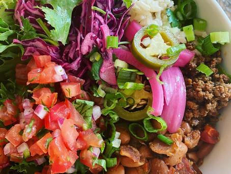 Burrito Bowls with Borracho Beans and Fresh Pico