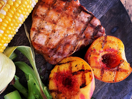 Grilled Pork Chops with Apricot Bourbon Glaze