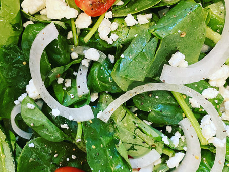 Quick Spinach Salad with Warm Bacon Vinaigrette