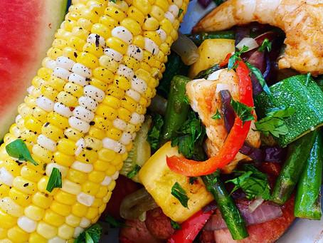 Summer Veggie Shrimp and Sausage Skillet