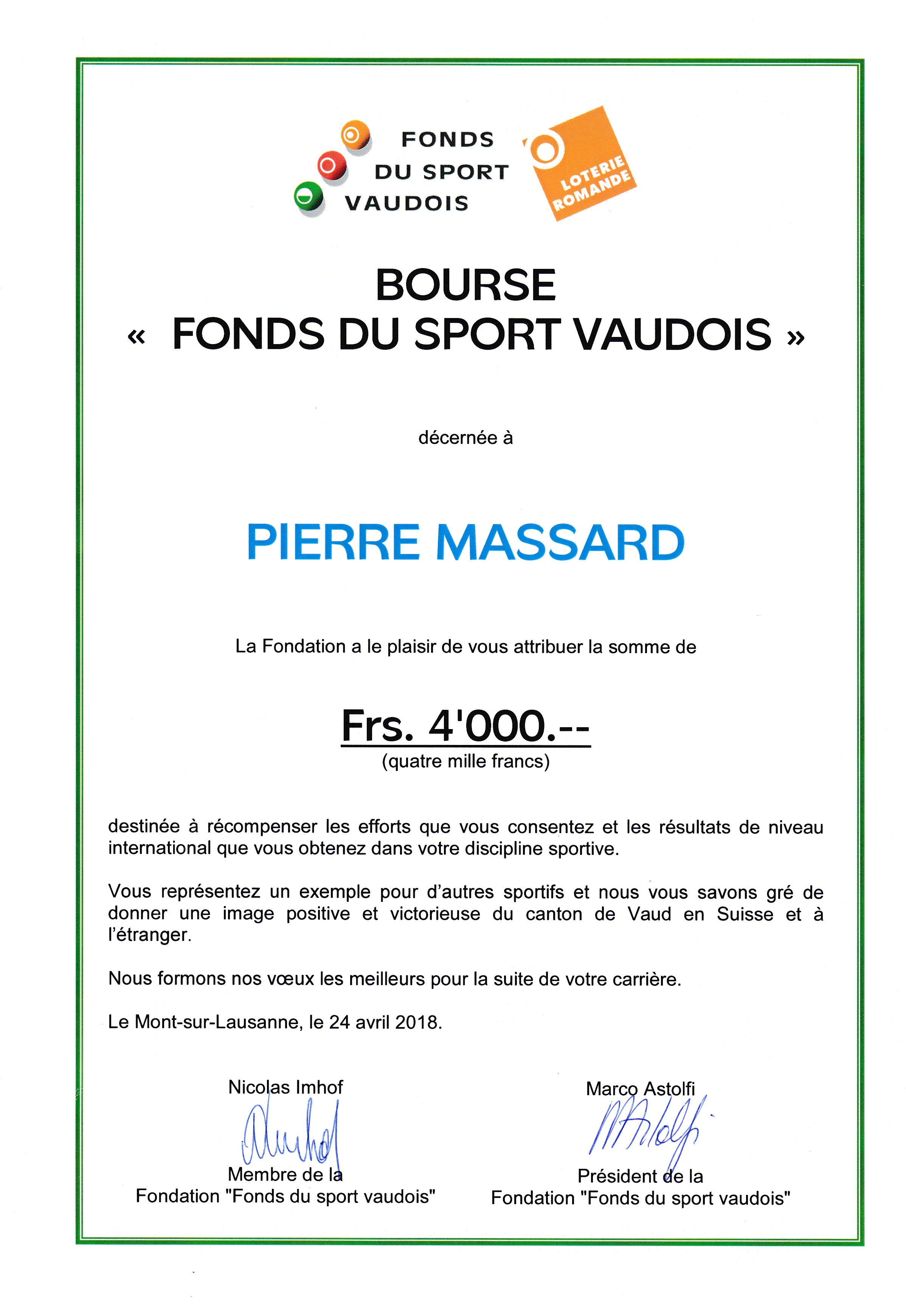 Bourse Fonds du Sport VD 2018