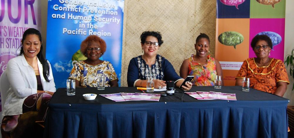 The GPPAC Pacific Regional Steering Committee: Vanessa Heleta, Agnes Titus, Sharon Baghwan Rolls, Sabrina Brown & Josephine Teakeni