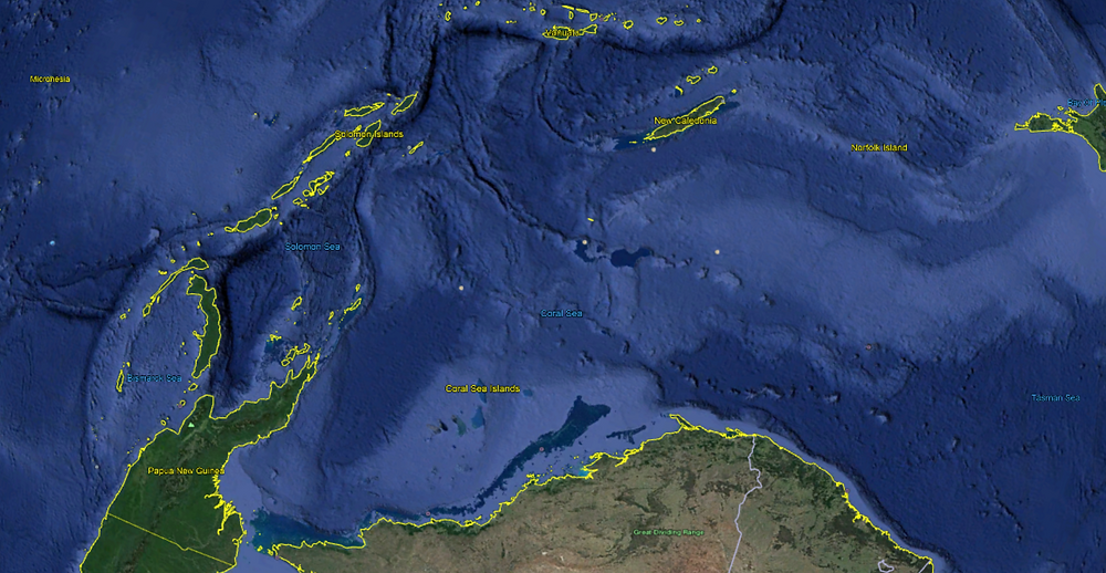 Another view of the Pacific - an arc of islands just off Australia's coast. Image: Google Earth.
