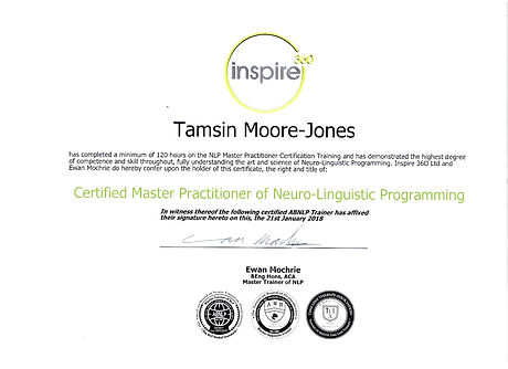 My Master NLP Certificate. Tamsin Moore-Jones, Peterborough