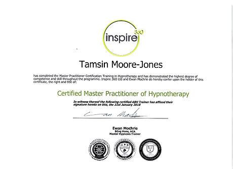 My Master Hypnotherapy Certificate. Tamsin Moore-Jones, Peterborough