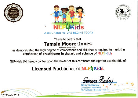 My Licensed NLP4Kids Practitioner Certificate