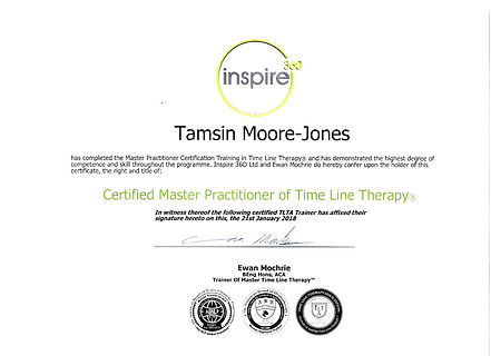 My Master Time Line Therapy Certificate. Tamsin Moore-Jones, Peterborough