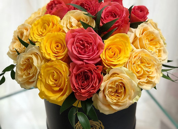 Premium Black Box - Red & Yellow Roses