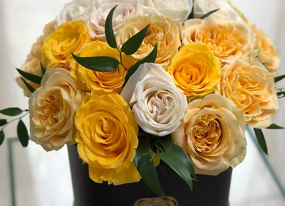 Premium Black Box - Yellow & White Roses