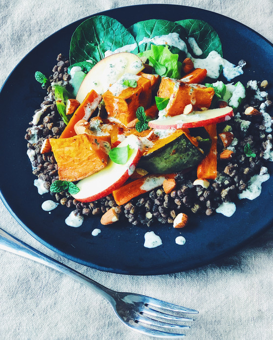 French Lentil Salad with Roasted Root Veg & Creamy Yoghurt Dressing