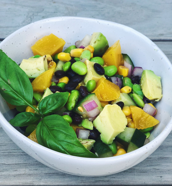 Protein-packed Avocado, Black Bean, Edamame & Mango Summer Salad
