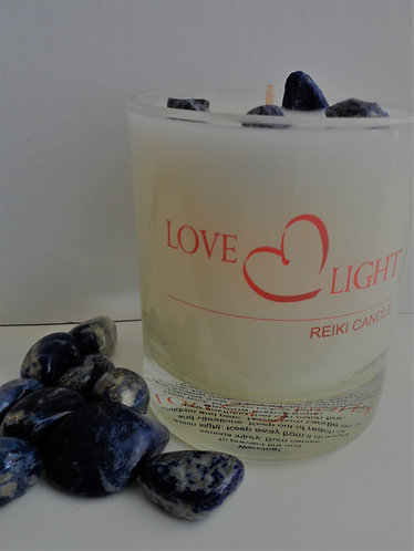 Sodalite Crystal Candle