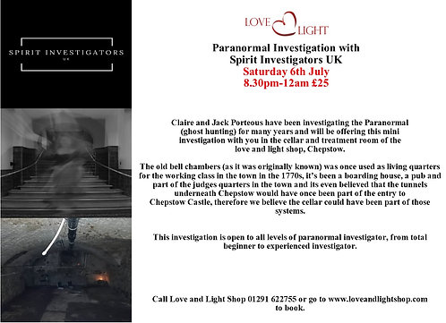 Paranormal Investigation Evening (Deposit and booking only)