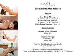 Melissa's treatments.