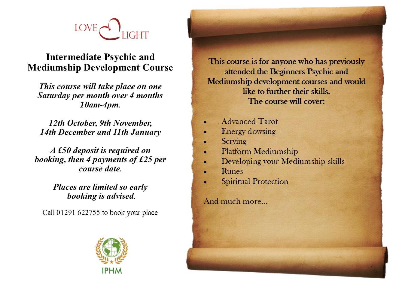 Intermediate Psychic & Mediumship course