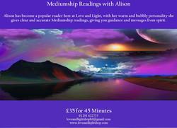 Alison Website mediumship poster