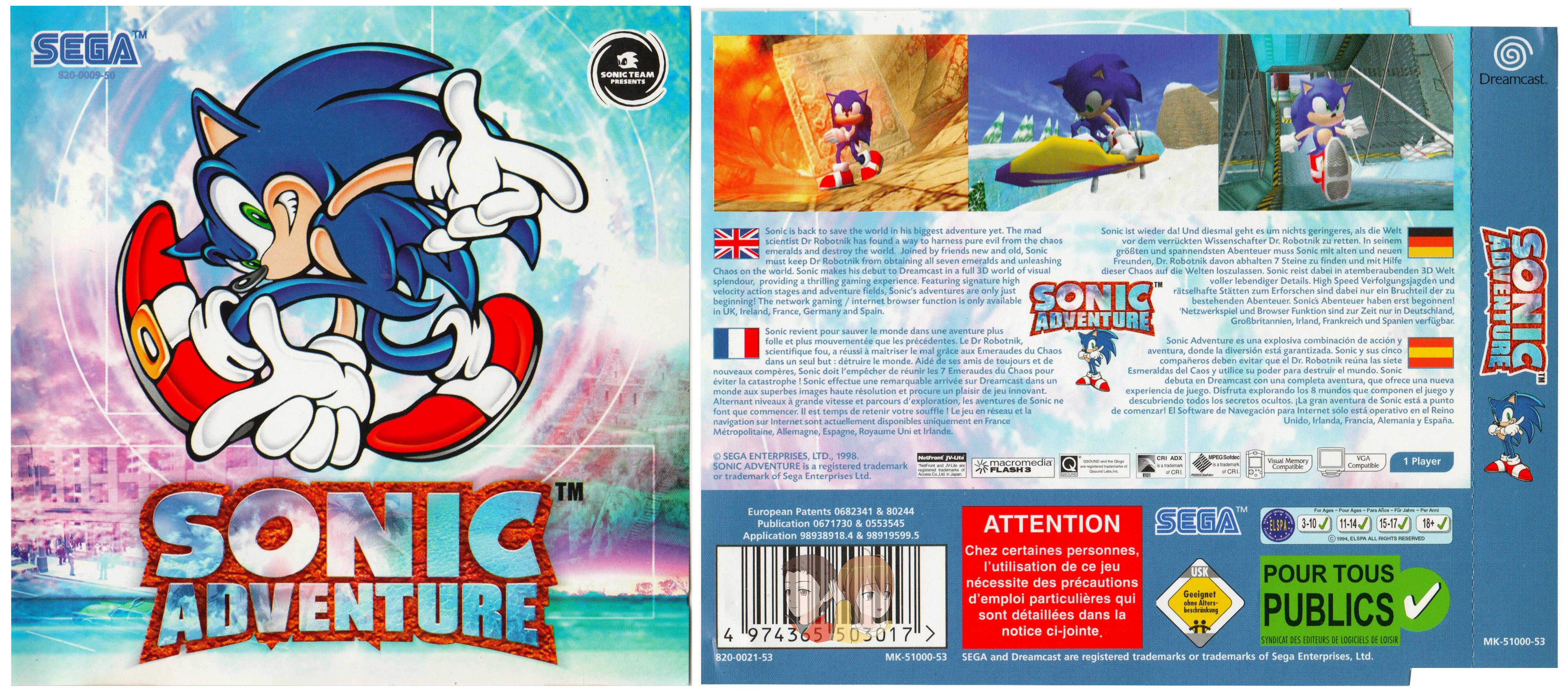 DREAMCAST--Jaquette---Sonic-Adventure---
