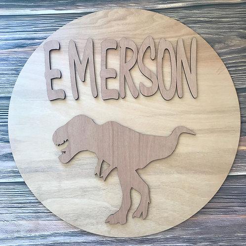 Dinosaur Monogram Door Hanger Wooden