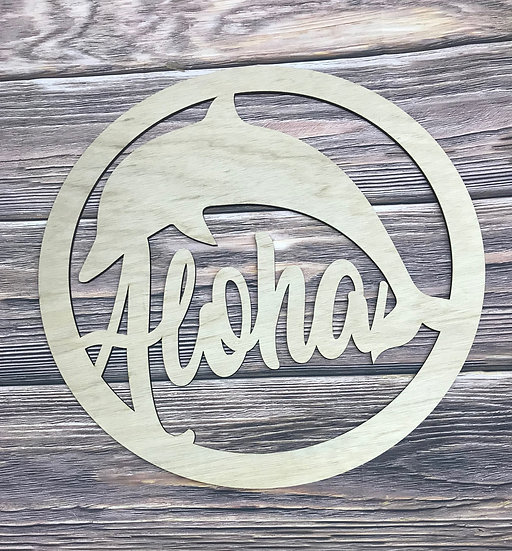 Wooden Dolphin Sign with word aloha