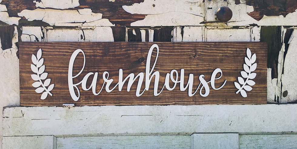Farmhouse with laurel leaves