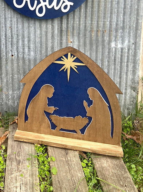 Painted Stand Up Nativity Design